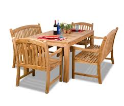 Teak Garden Table Amazonia Teak 5 Piece Teak Rectangular Dining Set With Bench Seats