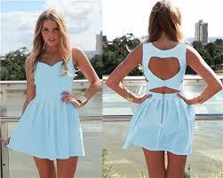 light blue mini dress new 2014 summer heart open cut out back backless party mini