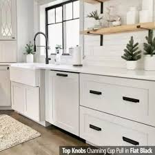 is black hardware in style top knobs channing cup pull contemporary transitional style 2 3 4 inch 69 85mm center to center overall length 4 1 4 flat black cabinet hardware