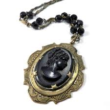 cameo antique necklace images Marie antoinette cameo vintage black bohemian glass cameo JPG