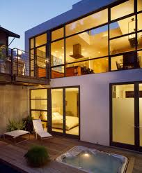 inground tubs patio contemporary with balcony concrete dark