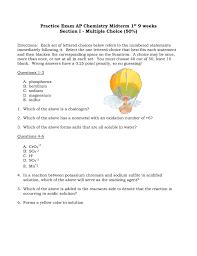 practice exam ap chemistry midterm 1 9 weeks