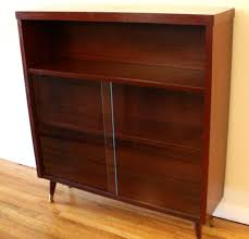 Mid Century Modern Bookcase Cabinet Sliding Door Bookshelf Bookshelves With Doors Mid