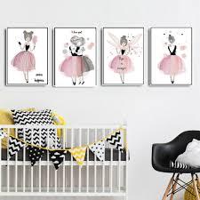 toile chambre bébé fille décoration poster toile danseuse étoile trendisy