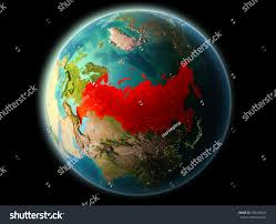 World At Night Map Russia Orbit Planet Earth Night Highly Stock Illustration