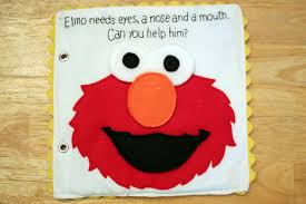 felt elmo sesame street build face quiet book pattern