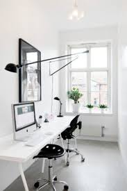 monochromatic white desks decor and should get some plants for
