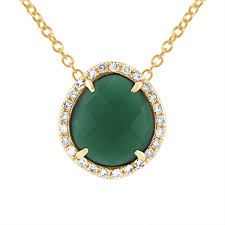 green agate necklace images Green agate pendant with white diamonds jill alberts jewelry jpg