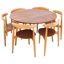 dining room table six chairs danish modern set a round table and six chairs by hans wegner for