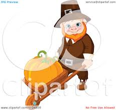 happy thanksgiving clipart free cartoon of a happy thanksgiving gnome man pushing a pumpkin in a