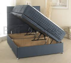 blue suede ottoman open small double storage luxury divan single
