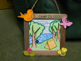 our fun camping craft with a stick frame and a hand drawn