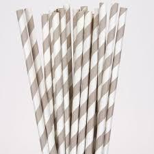 paper straws chagne grey striped paper straws pipii