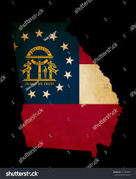 Ga State Flags Outline American Usa Georgia State Grunge Stock Illustration