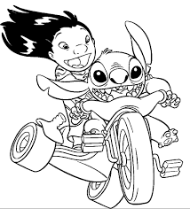 lilo and stitch riding a motorcycle lilo and stitch coloring