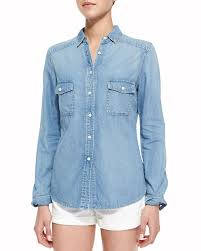chambray blouse neiman cusp by pocket chambray shirt light marble