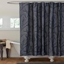 Lush Shower Curtains Curtain Lush Decor Flower Texture Gray Shower Curtain