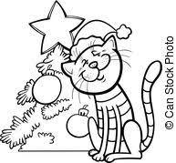 eps vectors cat christmas tree cat presents