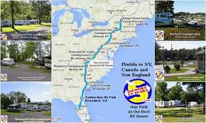 best snowbird rv route from florida to canada and the northeast