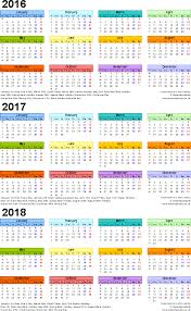 printable calendar 2016 a3 size three year calendars for 2016 2017 2018 uk for pdf