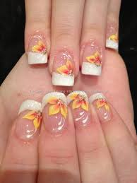 white tips with yellow and orange one stroke flower freehand nail