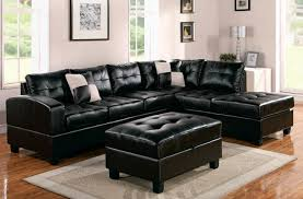 L Leather Sofa Living Room Cozy Black Ottoman L Shaped Leather Sofa Complete With