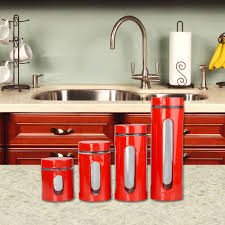 red canister sets kitchen home basics 4 piece steel canister in red cs44608 the home depot