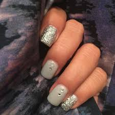 pretty nail design ideas silver nails with square gems and