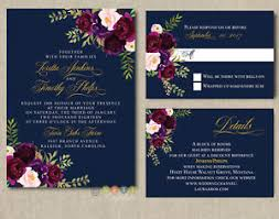 floral wedding invitations personalized navy burgundy blush floral wedding invitations with