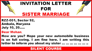write a letter to your friend inviting him her to your sister u0027s
