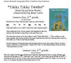 tikki tikki tembo worksheets elementary lesson plan template ideas
