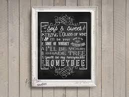 printable lyrics honey bee blake shelton blake shelton honeybee song lyrics print chalk typography by kaybee