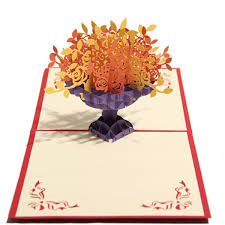 3d pop up paper cut greeting card postcard flower birthday