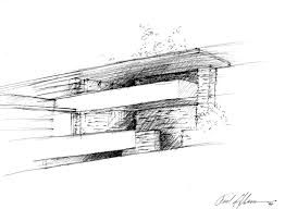 falling water by frank lloyd wright sketched by frederick clifford