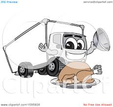 clipart delivery big rig truck mascot character with a