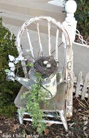 creative garden gardening ideas old chair watering can bird s nest