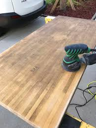 butcher block turned desk album on imgur 50 year old maple butcher block off of craigslist for 40 took nearly 2 hours of 80 grit sand paper to get all the wax and accumulated boogers off