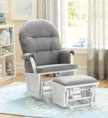 Nursery Rocking Chair Shermag Aiden Glider And Ottoman Set White With Grey Fabric