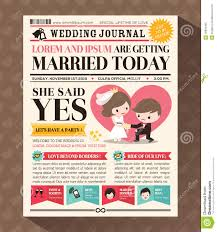 Wedding Invitation Card Design Template Cartoon Newspaper Wedding Invitation Card Design Stock Vector