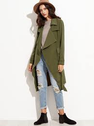 olive green wrap trench coat with gun flap detail emmacloth women