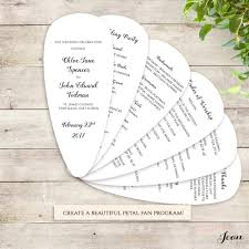 Fan Wedding Program Kits Fan Wedding Program Petal Fan Program Printable Template Connie
