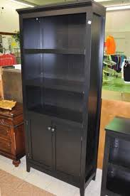 Bookcase With Doors Black Black Bookcase With Doors Visionexchange Co