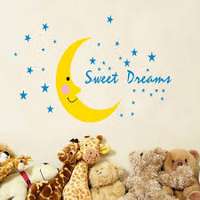 beautiful sweet dreams moon good night vinyl art decals wall