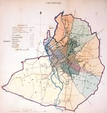 Leicester England Map by Antique Maps Tooley Adams