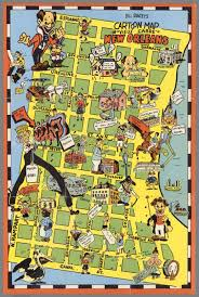 Map New Orleans by Bill Skacel U0027s Cartoon Map Of