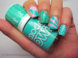 pink and turquoise retro nails with models own choi u0027s nails