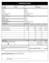 Construction Invoice Template Excel Commercial Invoice Template 1