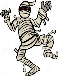 cartoon illustration of scary mummy monster for halloween royalty