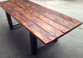 Reclaimed Wood And Iron Dining Table Softwood Finishes The Coastal Craftsman