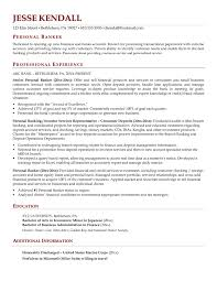 Resume Templates For Banking Personal Banker Resume Objective Personal Banker Resume Sle